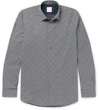 Paul Smith Soho Slim-Fit Cutaway-Collar Printed Cotton-Poplin Shirt - Navy