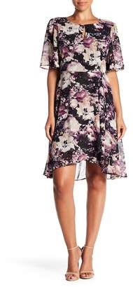 Bobeau Floral Faux Wrap Floral Dress