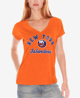 G-iii Sports New York Islanders Nhl Women's Glitter Short Sleeve V-Neck T-Shirt