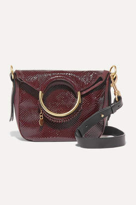 See by Chloe Monroe Small Snake-effect Leather Tote - Burgundy