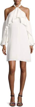 Neiman Marcus Kobi Halperin Janella Silk Cold-Shoulder Ruffle Cocktail Dress