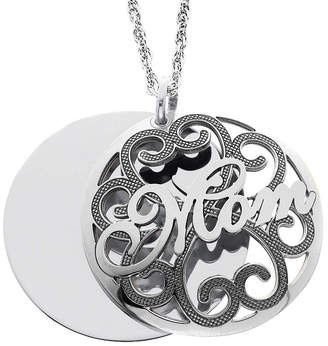 JCPenney FINE JEWELRY Personalized Sterling Silver Mom and Family Name Domed Pendant Necklace