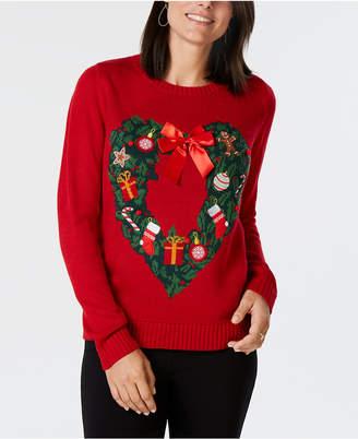 Karen Scott Heart-Shaped Holiday-Wreath Pattern Sweater