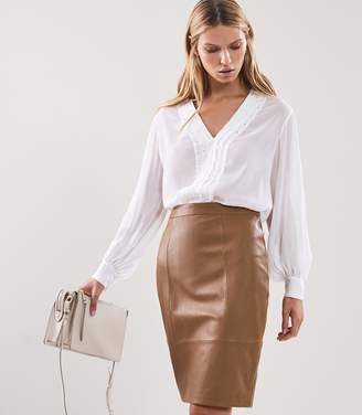 Reiss KRISTEN LEATHER SKIRT Tan