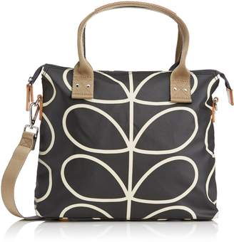 Orla Kiely Core Linear Zip Messenger Shoulder Bag, Black/Cream