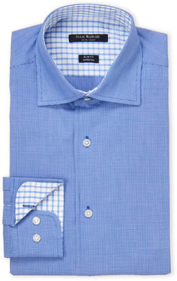 Isaac Mizrahi Blue Mini-Checkered Print Slim Fit Stretch Dress Shirt