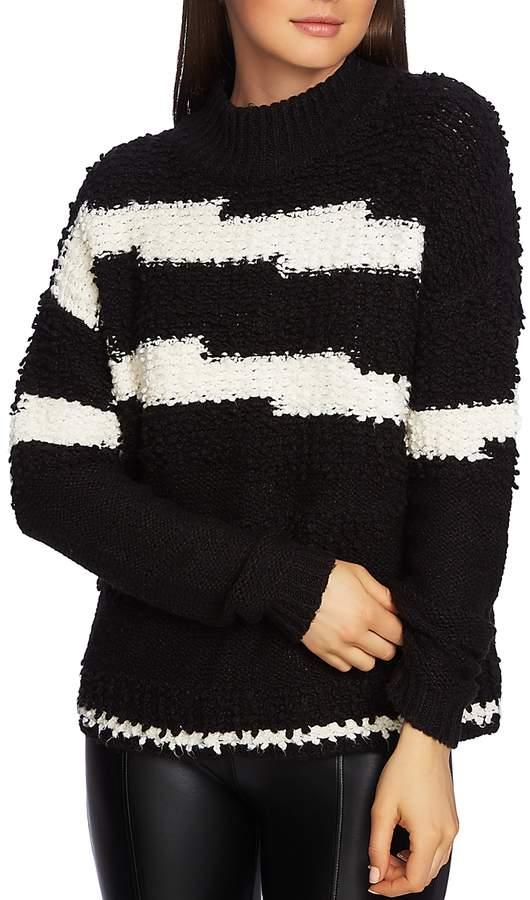1.state Striped Multi-Texture Sweater