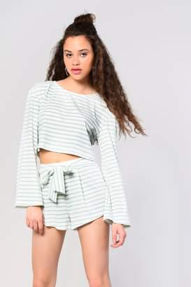 Glamorous Womens **Striped Plush Sweatshirt By Multi