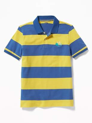 Old Navy Built-In Flex Embroidered Graphic Striped Polo for Boys