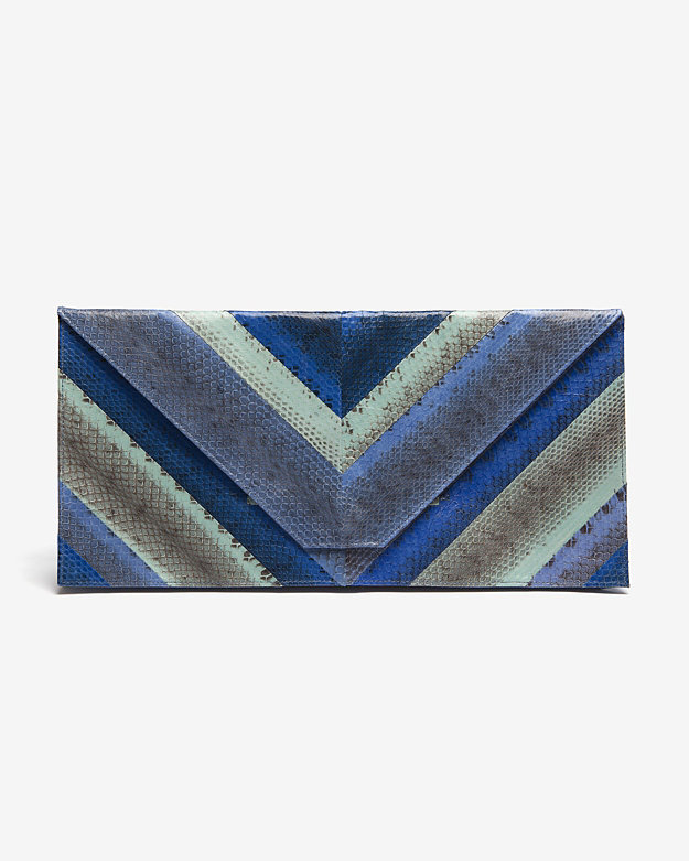 Beirn Chevron Oversized Clutch: Turquoise