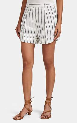 Odyssee Women's Jeanne Pinstriped Canvas Tailored Shorts - Cream