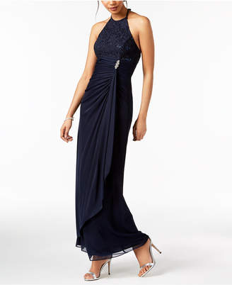 Betsy & Adam B & A by Ruched Sequined-Lace Halter Gown