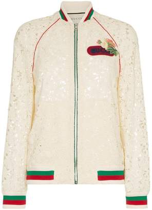 Gucci flower embroidered lace bomber jacket