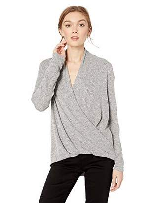 Cable Stitch Women's Long Sleeve Wrap High/Low Knit Top