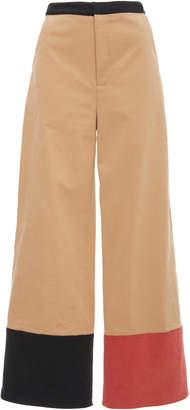 Rosie Assoulin Cropped Color-Blocked Cotton Wide-Leg Pants