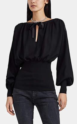 Alberta Ferretti Women's Satin-Trimmed Virgin Wool Sweater - Black