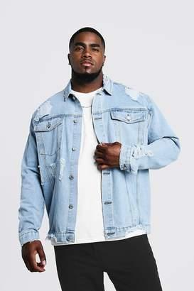 boohoo Big & Tall Denim Jacket Heavy Distressing
