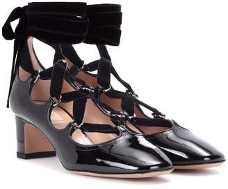 Valentino lace-up patent leather pumps