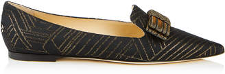 Jimmy Choo GALA Black and Gold Deco Graphic Fabric Pointy Toe Flats with Bow Detail