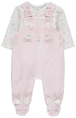 CAT Pink Dungarees and Bodysuit Outfit