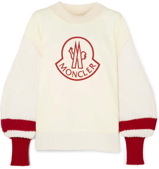 Moncler Genius 1952 Embroidered Cotton And Ribbed Wool Sweater - Cream