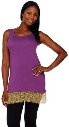 Logo By Lori Goldstein LOGO Lavish by Lori Goldstein Knit Tank with Lace and Beaded Trim