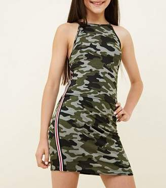 New Look Girls Green Camo Stripe Side Tube Skirt