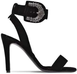 Etro 95MM BUCKLED VISCOSE VELVET SANDALS