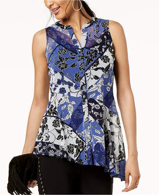 INC International Concepts I.N.C. Printed Button-Front Asymmetrical Top, Created for Macy's