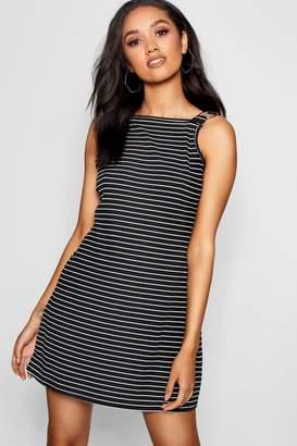 boohoo Petite O Ring Detail Stripe Shift Dress