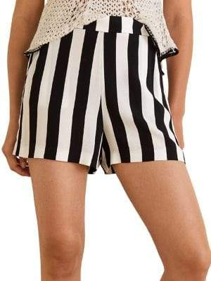 MANGO Striped Flowy Shorts