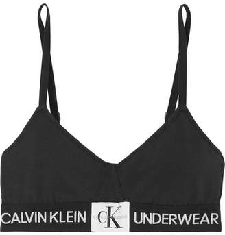 5e9cb23c89bc2 Calvin Klein Underwear Monogram Stretch-cotton Jersey Soft-cup Triangle Bra  - Black
