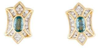 14K Aquamarine & Diamond Earrings yellow 14K Aquamarine & Diamond Earrings