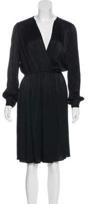L'Agence Long Sleeve Pleated Dress