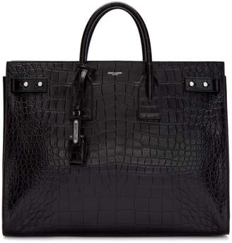 Saint Laurent Black Croc Sac De Jour Tote