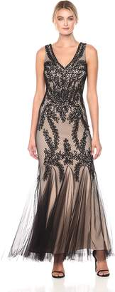Betsy & Adam Women's Lace Gown with Godets, Black/Nude