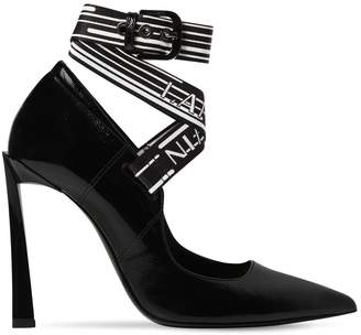 Lanvin 105mm Logo Strap Patent Leather Pumps