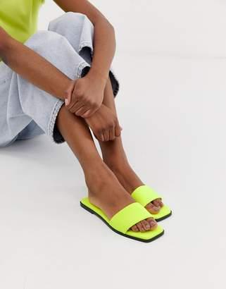 Asos Design DESIGN Fleeky mule sliders in neon yellow