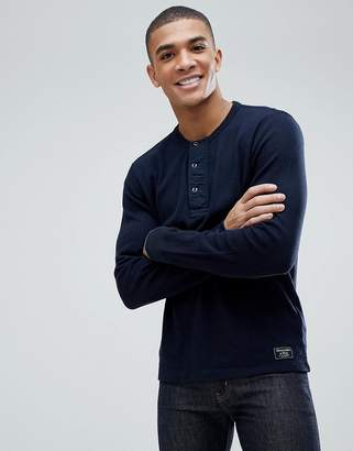 Abercrombie & Fitch Waffle Henley Long Sleeve Top in Navy