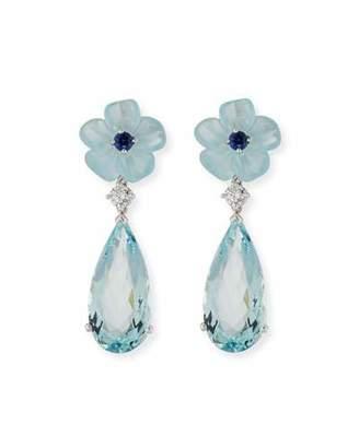 Rina Limor Fine Jewelry Aquamarine Flower Earrings with Diamonds