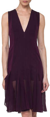 Akris Silk Georgette Sleeveless V-Neck Pleated Dress, Purple