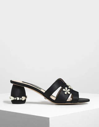 Charles & Keith Pearl Embellished Satin Mules