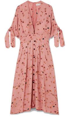 Faithfull The Brand Nina Floral-print Crinkled-crepe Midi Dress - Antique rose