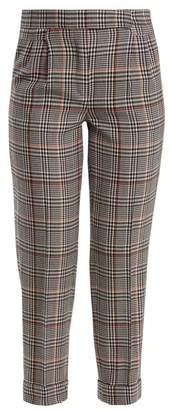 Amanda Wakeley Prince Of Wales Checked Stretch Wool Trousers - Womens - Black Multi