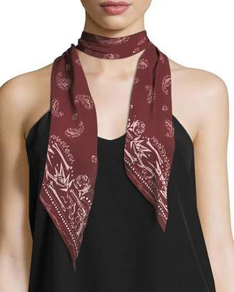 N. Rockins Guns Rockins Super Skinny Silk Scarf, Red Pattern