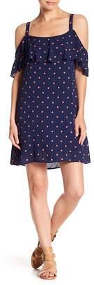 Splendid Polka Dot Ruffle Cold Shoulder Dress