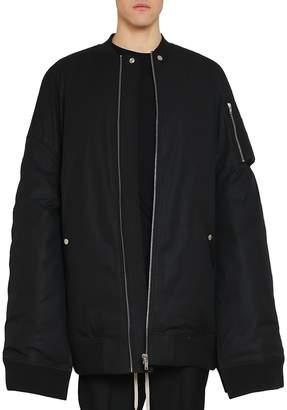 Rick Owens Black Cotton Blend Moody Flight Bomber Jacket