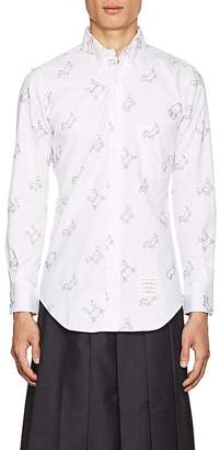 Thom Browne Men's Toy-Animal-Embroidered Cotton Oxford Shirt