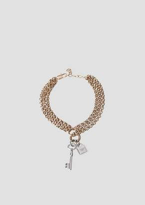 Emporio Armani Multi-Strand Bracelet With Pendants In The Shape Of A Key And A Padlock