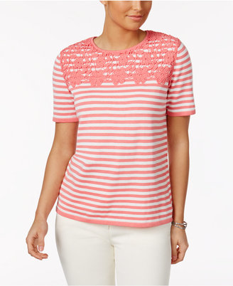 Alfred Dunner Striped Appliquéd Sweater $50 thestylecure.com